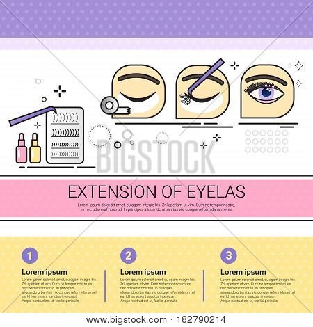 Extension Of Eyelas Cosmetology Infographics Salon Medical Cosmetics Procedures Set Banner With Copy Space Flat Vector Illustration