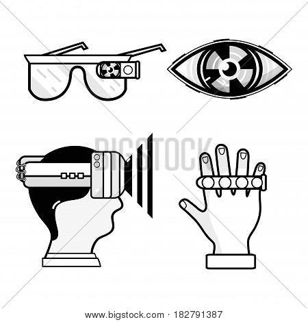 3d eyeglasses virtual game entertainment, vector illustration