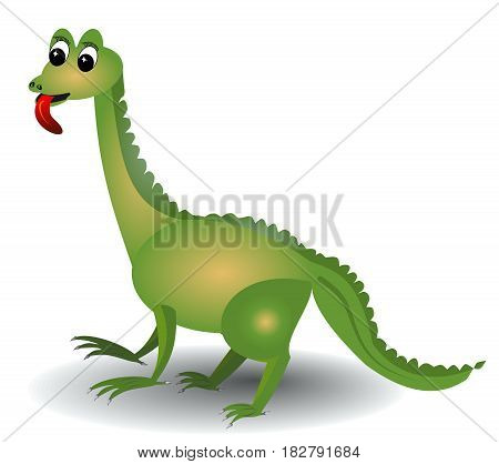 Cheerful green lizard with long red tongue isolated on white area