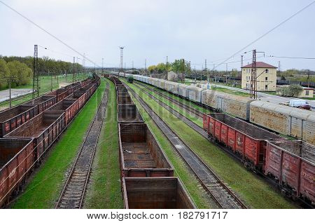A Huge Number Empty Freight Cars Are In The Pavlograd Railway Depot