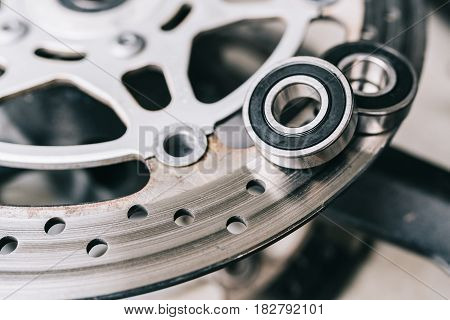 Metal Ball Bearing On Motorcycle Disk Brake.