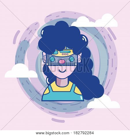 3d eyeglasses virtual experience game, vector illustration