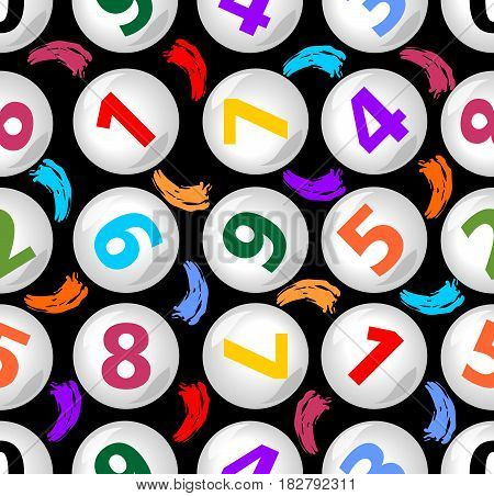 Seamless contrasting background with numbers in balls on the dark area