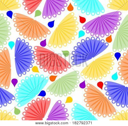 Cheerful colorful seamless abstract background with fan shapes and drops
