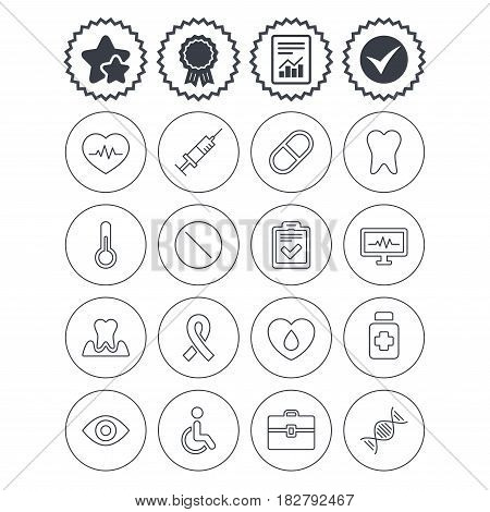 Report, check tick and award signs. Medicine icons. Syringe, heartbeat and pills symbols. Tooth health, eye and blood donate. Awareness ribbon. Best quality star symbol. Flat buttons. Vector