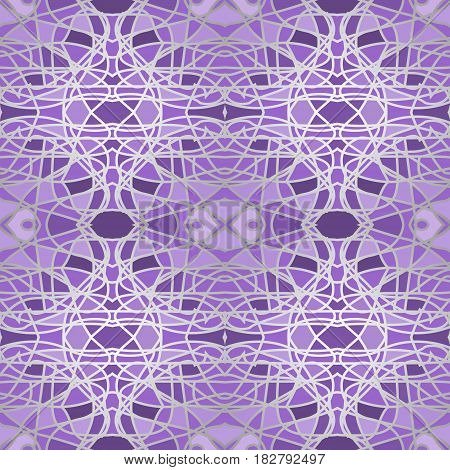 Purple mosaic seamless background with fine light outlines, symmetric tile patterns