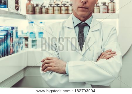 Handsome Pharmacist Working
