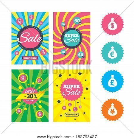 Web banners and sale posters. Money bag icons. Dollar, Euro, Pound and Yen symbols. USD, EUR, GBP and JPY currency signs. Special offer and discount tags. Vector