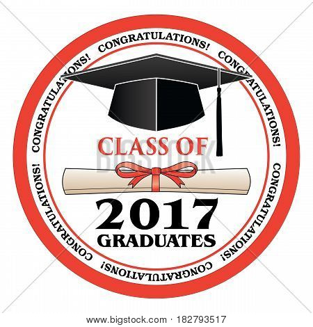 Class of 2017 Graduates is a design that shows your pride as a graduate of the class of 2017. Includes a cap, text and diploma. Great for graduation t-shirt designs.