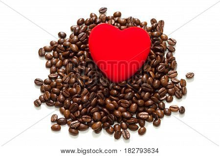 beans coffee isolated on a white background. red heart in coffee beans concept of love and a holiday of valentine day.
