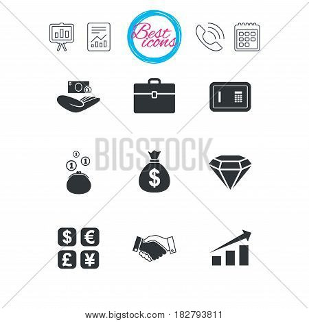 Presentation, report and calendar signs. Money, cash and finance icons. Handshake, safe and currency exchange signs. Chart, case and jewelry symbols. Classic simple flat web icons. Vector