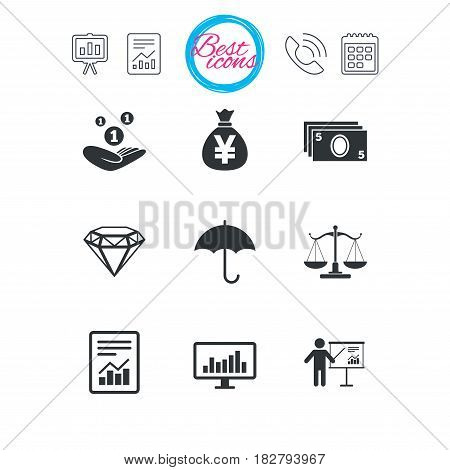 Presentation, report and calendar signs. Money, cash and finance icons. Money savings, justice scales and report signs. Presentation, analysis and umbrella symbols. Classic simple flat web icons