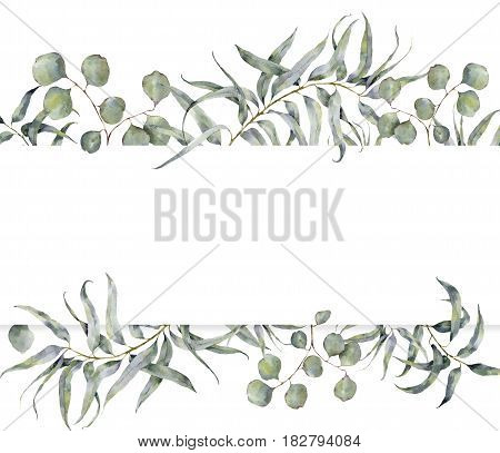 Watercolor card with eucalyptus branch. Hand painted floral frame with round leaves of silver dollar eucalyptus isolated on white background. For design or print.
