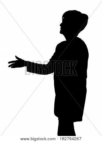 Elderly Lady Silhouette Extending Hand To Greet With Handshake