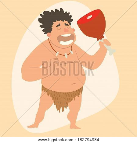 Caveman primitive stone age man cartoon neanderthal human action character evolution vector illustration. prehistoric muscular warrior anthropology homo evolution family.