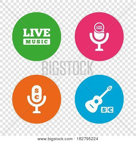 Musical elements icons. Microphone and Live music symbols. Paid music and acoustic guitar signs. Round buttons on transparent background. Vector