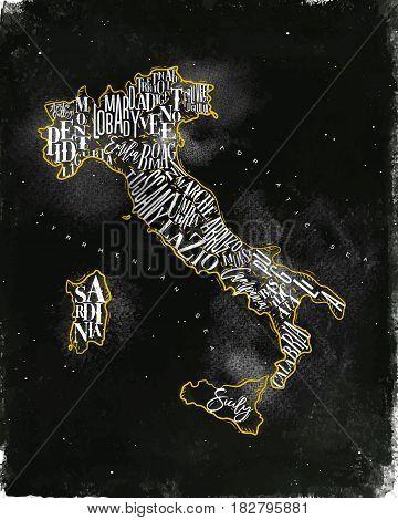 Vintage italy map with regions inscription sardinia sicily lazio tuscany liguria marche abruzzo calabria puglia veneto trentino lombardy marche drawing with chalk and yellow on chalkboard