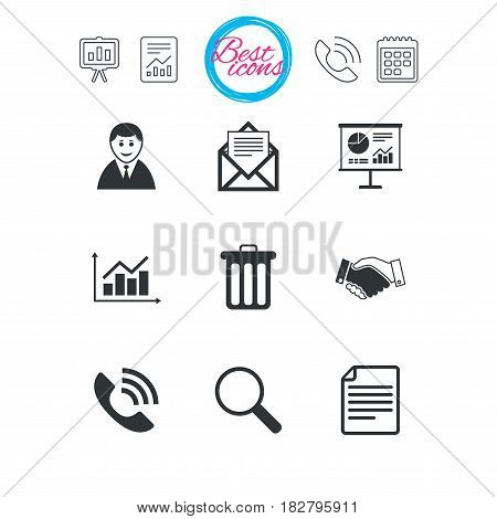 Presentation, report and calendar signs. Office, documents and business icons. Businessman, handshake and call signs. Chart, presentation and mail symbols. Classic simple flat web icons. Vector