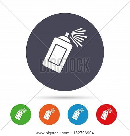 Graffiti spray can sign icon. Aerosol paint symbol. Round colourful buttons with flat icons. Vector