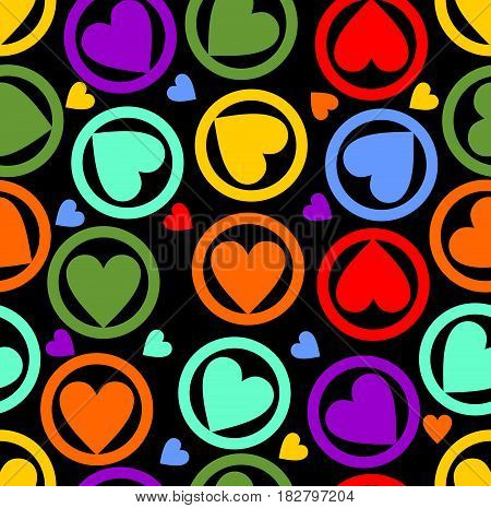 Seamless background with rainbow heart pattern on the black area