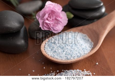 Composition Of Spa Treatment. Spoon Of Sea Salt And Stones For Massage