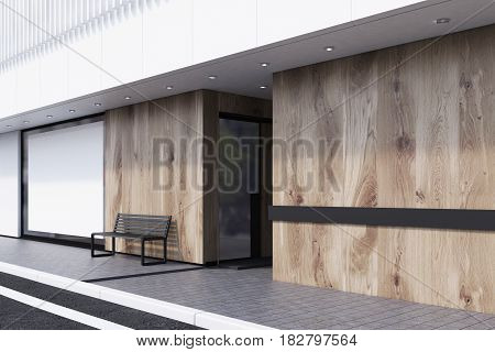 Side view of a shop window with a large horizontal poster a bench and a white balcony on the second floor. Concept of promotion. 3d rendering mock up