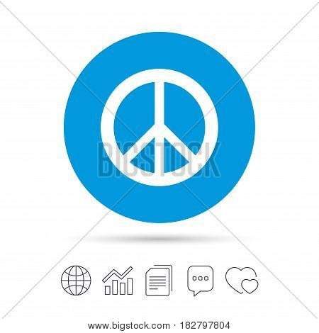Peace sign icon. Hope symbol. Antiwar sign. Copy files, chat speech bubble and chart web icons. Vector