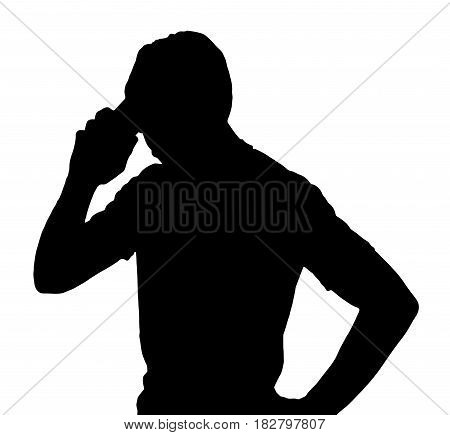 Side Profile Portrait Silhouette Of Man Talking On Cellular Phone