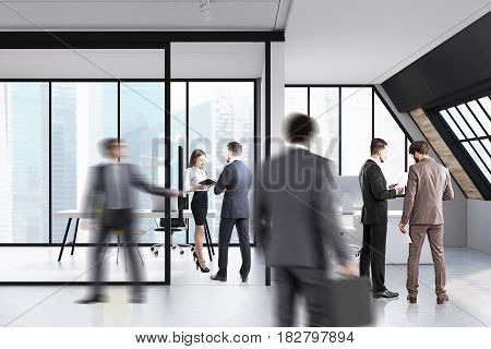 Business people are standing and walking in an attic office with glass walls and computer tables. 3d rendering.