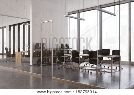 Glass meeting room interior with a long wooden table laptops on it and two rows of chairs near it. 3d rendering