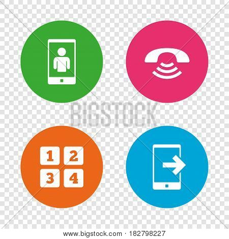 Phone icons. Smartphone video call sign. Call center support symbol. Cellphone keyboard symbol. Round buttons on transparent background. Vector