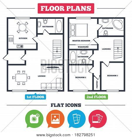 Architecture plan with furniture. House floor plan. Hipster photo camera icon. Flash light symbol. Photo booth strips sign. Landscape photo frame. Kitchen, lounge and bathroom. Vector