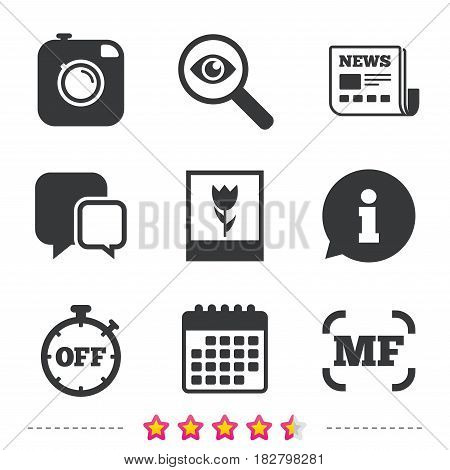 Hipster retro photo camera icon. Manual focus symbols. Stopwatch timer off sign. Macro symbol. Newspaper, information and calendar icons. Investigate magnifier, chat symbol. Vector