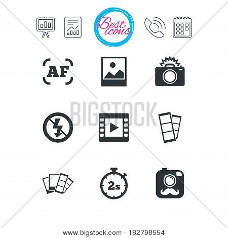 Presentation, report and calendar signs. Photo, video icons. Camera, photos and frame signs. No flash, timer and strips symbols. Classic simple flat web icons. Vector