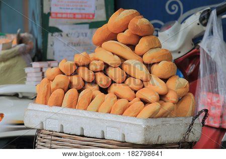 French baguette sold in Old Quarter Hanoi Vietnam
