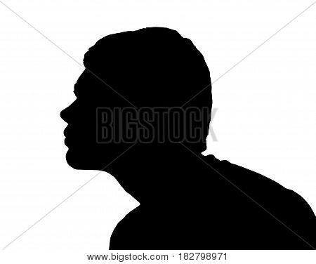 Side Profile Portrait Silhouette Of Teenage Boy Leaning Forward For Kiss