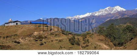 Snow capped Annapurna range. View from Ghale Gaun Nepal.