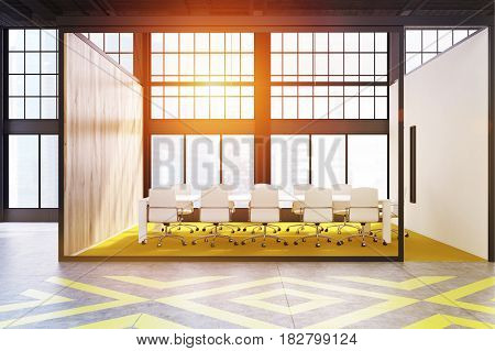 Conference room interior with a yellow and gray floor pattern a long table and a row of white chairs standing along it. 3d rendering toned image.