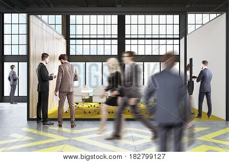 Poeple are walking past a conference room with a yellow and gray floor pattern a long table and a row of white chairs standing along it. 3d rendering.