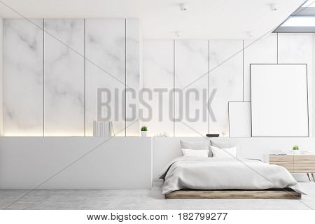 Front view of a bedroom with marble walls a double bed and two blank posters to the right of it. Large wall fragment to the left. 3d rendering mock up