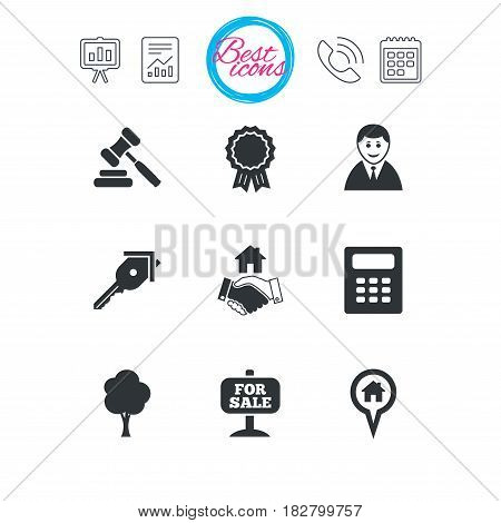 Presentation, report and calendar signs. Real estate, auction icons. Handshake, for sale and calculator signs. Key, tree and award medal symbols. Classic simple flat web icons. Vector
