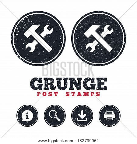Grunge post stamps. Repair tool sign icon. Service symbol. Hammer with wrench. Information, download and printer signs. Aged texture web buttons. Vector