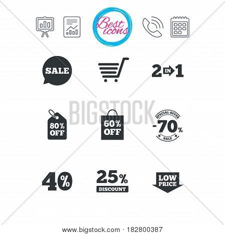 Presentation, report and calendar signs. Sale discounts icon. Shopping cart, coupon and low price signs. 25, 40 and 60 percent off. Special offer symbols. Classic simple flat web icons. Vector