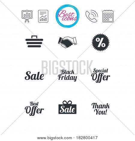 Presentation, report and calendar signs. Sale discounts icon. Shopping, handshake and black friday signs. Special offer symbols. Classic simple flat web icons. Vector
