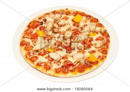 Chicken Pizza On A White Background
