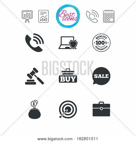 Presentation, report and calendar signs. Online shopping, e-commerce and business icons. Auction, phone call and sale signs. Cash money, case and target symbols. Classic simple flat web icons. Vector