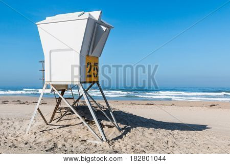 Lifeguard tower on Pacific Beach in San Diego, California.