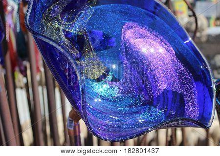 Blue glass glitter round sunny reflection glare