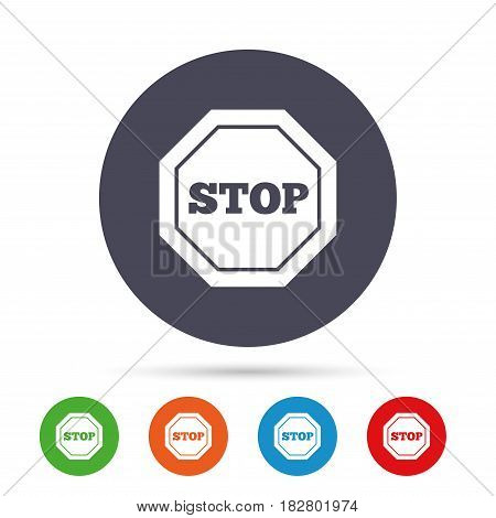Traffic stop sign icon. Caution symbol. Round colourful buttons with flat icons. Vector