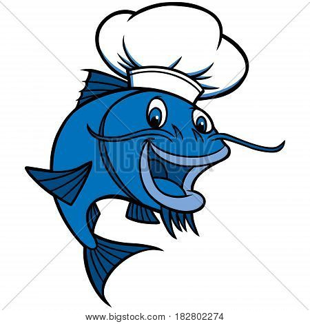A vector illustration of a cartoon Catfish Chef.